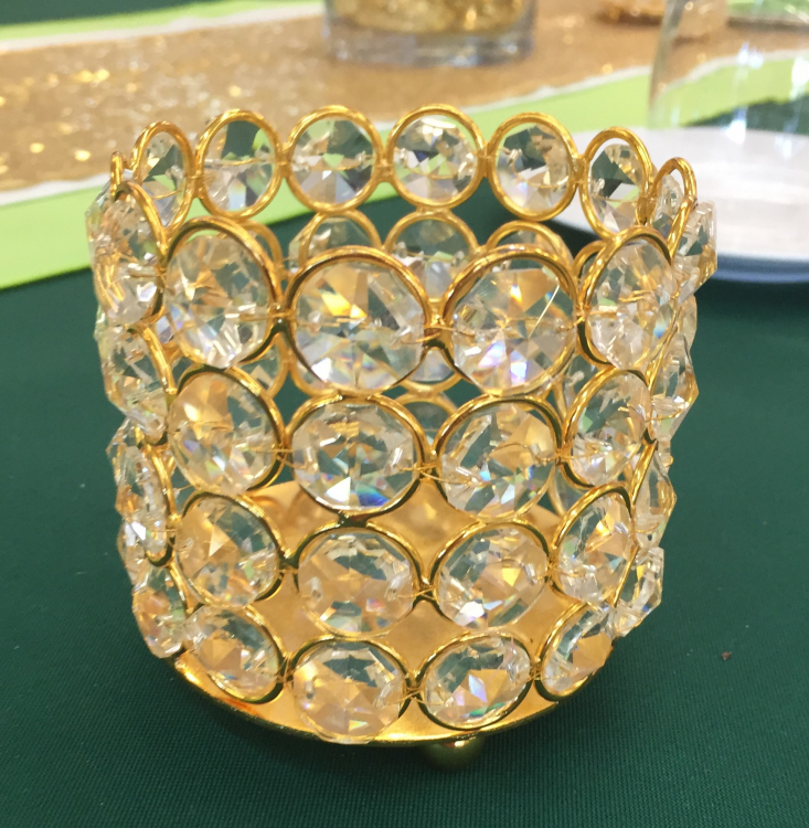 Gold Candle Holder w/Sequins