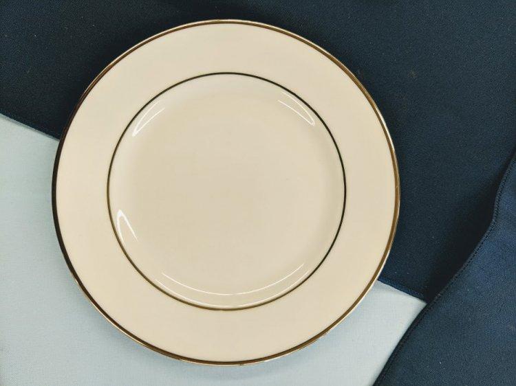 White w/Silver Rim Salad/Dessert Plate